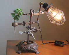 Steampunk lamp, industrial desk lamp, industrial lamp, steampunk table lamp, unique studio light, vintage chemistry and laboratory science