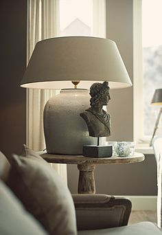 table lamp, sculpture, table