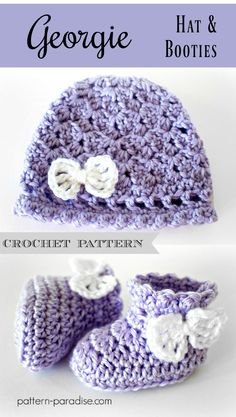Crochet Pattern: Georgie Hat and Booties Set | Pattern Paradise