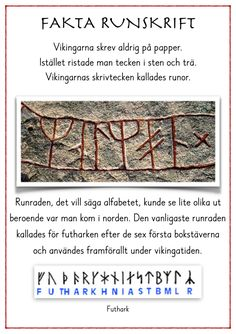 Runskrift2016 Ammi Arbetshäfte Swedish Language, Runic Alphabet, Norse Runes, Too Cool For School, School Stuff, Classroom Inspiration, Projects For Kids, Social Studies, Good To Know