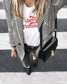 checked blazer + graphic tee and loafers @dcbarroso
