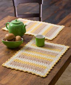 Cornmeal Mats Free Crochet Pattern from Red Heart Yarns