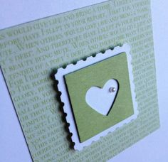 "Handmade card using Small Heart Punch, 1"" Square Punch, Postage Stamp Punch from Stampin' Up!"