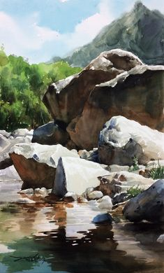 Watercolor Landscape, Watercolor Paintings, Watercolour, Architecture Old, Nature Scenes, Art Inspo, Around The Worlds, Photo And Video, Drawings