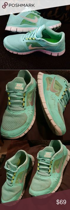 Tiffany blue Nike free runs  Beautiful nikes! Adorable Tiffany blue. Very rare color. I loved these nikes but due to medical foot problems I can't wear these anymore :( previously loved, and need to be cleaned. About a 7 out of 10 condition. Very rare due to color! Open to offers using the offer tool. Nike Shoes Athletic Shoes