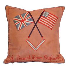 cushion with a naive style design - british & us flag