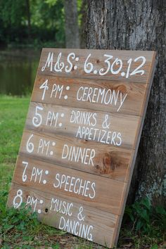 Reception Schedule Menu Board instead of individual schedules saves $ too!!! Have at the front of isle