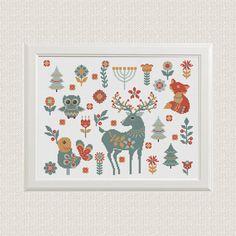 scandinavian animals fox deer owl cross stitch pattern  decor