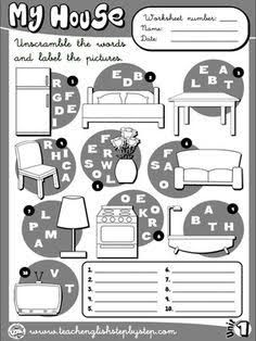 2 Worksheets whose House It is My house Worksheet 7 B&W version English Teaching Materials, Learning English For Kids, English Teaching Resources, Kids English, English Activities, Education English, English Lessons, Learn English, English Vocabulary List