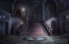 This is the hallway of the haunted mansion, which leads to many rooms. For a hidden object game/HOPA game.
