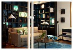 bibliothèque noire fond bleu Sarah Lavoine