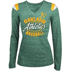 Oakland Athletics Women's Tri-blend Long Sleeve V-Neck T-Shirt by 5th & Ocean - MLB.com Shop