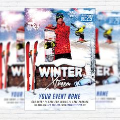 Winter Extreme - Premium Flyer Template + Facebook Cover http://exclusiveflyer.net/product/winter-extreme-premium-flyer-template-facebook-cover/