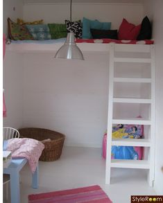 loft with simple ladder for playhouse Playhouse Decor, Simple Playhouse, Playhouse Interior, Kids Indoor Playhouse, Outside Playhouse, Build A Playhouse, Wooden Playhouse, Playhouse Ideas, Girls Playhouse