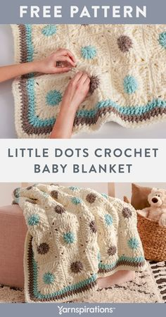 Free Little Dots Crochet Baby Blanket pattern using Bernat Baby Blanket yarn. Plum little dots add a playful touch to this cozy crochet blanket that's perfect for the nursery or playroom. This sweet layer is worked up using individual motifs that feature treble crochet stitchwork. Motifs are then joined together and finished off with an attractive double crochet border. #Yarnspirations #FreeCrochetPattern #CrochetBabyBlanket #CrochetMotifs #TrebleCrochet #BernatYarn #BernatBabyBlanket Crochet Motifs, Crochet Borders, Knit Or Crochet, Crochet Blanket Patterns, Double Crochet, Crochet Stitches, Free Crochet, Bernat Baby Blanket, Blanket Yarn
