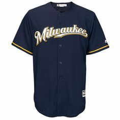 Men's Milwaukee Brewers Majestic Blue Official Cool Base Jersey