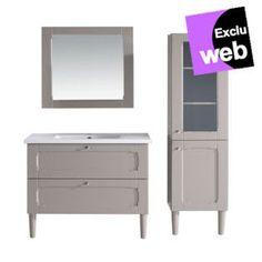 Meuble de salle de bain Alinea, le Meuble complet Classic : sous vasque, vasque et miroir Gris satiné prix promo Alinea 599.00 € TTC.