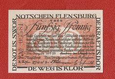 Germany Flensburg 50 pfennig pf 1920 banknote notgeld antique Denmark dannmark