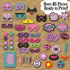 SuperHero Girls Photo Booth Props and Decorations - Printable Props and Decorations - Over 45 Images - Digital Download- INSTaNT DOWNLoAD  Welcome to OldMarket!  PLEASE NOTE: This is a digital product, NO physical product will be sent. ***************************************************   This listing is for a DIGITAL COPY of the SuperHero Girls Photo Booth Props. Have a SUPER fun time with these Girly SUPERHERO party Props. All you do is print them out on cardstock, cut them out, tape or…