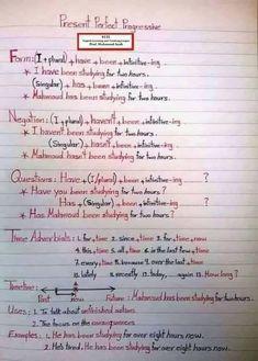 Present perfect continous English Grammar Notes, Teaching English Grammar, English Grammar Worksheets, English Verbs, Grammar Lessons, English Language Learning, English Phrases, Learn English Words, English Writing