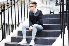 Ray Ban Sunnies, Zara Top, Cheap Monday Jeans, Converse Sneakers
