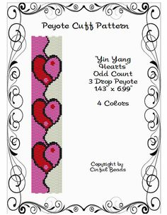 Peyote pulsera patrón Yin Yang corazones con por CinfulBeadPatterns