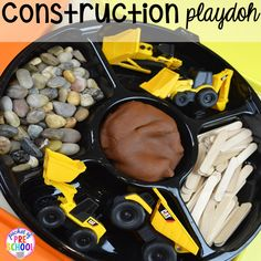 Construction playdoh tray! Construction themed centers and activities my preschool & pre-k kiddos will LOVE! (math, letters, sensory, fine motor, & freebies too)
