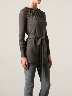 Grey cotton blend gathered belted top from Rick Owens Lilies. Item ID: 10787254 Composition: Viscose 70%, Polyamide 15%, Cotton 15% WASHING INSTRUCTIONS: Hand Wash Brand Style ID: Li14f7216l