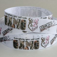 """5 yards 1"""" Browning Love CAMO Grosgrain Ribbon Browning, Grosgrain Ribbon, Ribbons, Yards, Camo, Cuff Bracelets, Hunting, Projects To Try, Fishing"""