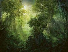 Llanowar revenue à la vie, par Philip Straub (Vision de l'avenir). Sur les souches d'arbres millénaires tombés pendant les heures les plus sombres de Dominaria, de jeunes arbres repoussent.