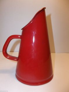 Vintage French ENAMELWARE Milk Warmer HOT CHOCOLATE Coffee Pot RED 7""
