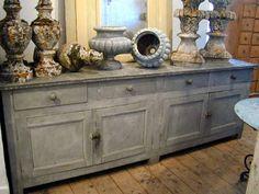 Zinc florist's counter to use as comparison for faux zinc Annie Sloan Chalk Paint
