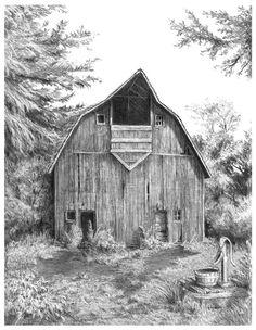 Pencil Drawings of Old Barns | Old Barns Drawings Old country barn, 8 3/4
