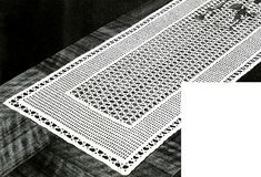 Very pretty but it seems like it will require a lot of focus. Lacet Table Runner crochet pattern originally published in Crochet For Your Home, Book Crochet Table Runner Pattern, Crochet Tablecloth, Thread Crochet, Filet Crochet, Crochet Dollies, Vintage Crochet Patterns, Crochet Ideas, Crochet Decoration, Crochet Home