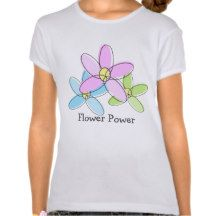 Cute Whimsical Pastel Flower Power Tee Shirts. #tshirts #girlstshirts #flowers #flowertshirts #flowerpower