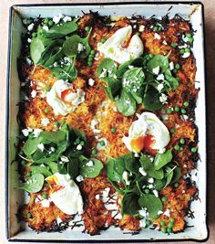This Giant veg rosti recipe is a brilliant vegetarian dish packed with spinach, peas and a poached egg; Pea Recipes, Vegetable Recipes, Vegetarian Recipes, Cooking Recipes, Veggie Meals, Veggie Food, Dinner Recipes, Chefs, Rosti Recipe