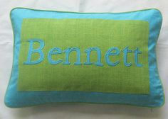 custom made name pillow cover  blue and by Comfyheavenpillows, $28.99