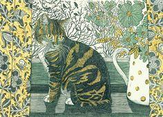 'Tabitha On The Windowsill' By Printmaker Vanessa Lubach. Blank Art Cards By Green Pebble. www.greenpebble.co.uk