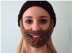 Crochet Beard Hat Pattern  note: kid fch 21 st, row 9 - *dc, sc* 3 times, fch 7, *sc, dc* 3 times