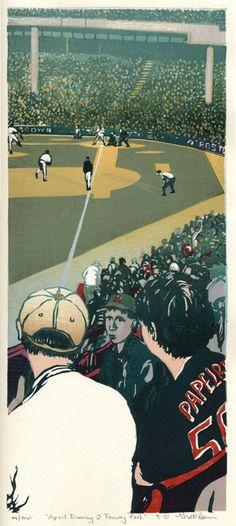 """Fenway Park"" by Matthew Brown (woodblock print, 16 1/2 x 7 1/4, $235)"