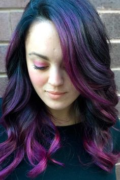 Hypnotic Purple and Black Hair Shades ★ See more: http://lovehairstyles.com/purple-and-black-hair-color/