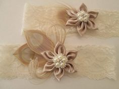 #Ivory #Lace #Wedding #Garter Set #Ivory #Blonde #Peacock Garters #Kanzashi Flower #Pearl Wedding #Garter #Boho #Vintage Deco #Country Chic #Barnyard #Cottage Chic #Great #Gatsby #Flapper #Bride #Weddings by GibsonGirlGarters