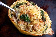 Spaghetti squash, kale and sausage boats