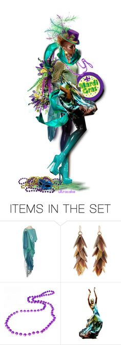 """""""Mardi Gras Mama☆"""" by ultracake ❤ liked on Polyvore featuring art, dolls, MardiGras and ultracake"""