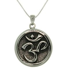 Center your spirit with this polished silver necklace that features the Hindu symbol for meditation. Weighing six grams, the feel of this silver pendant around your neck will remind you to relax when life gets hectic.
