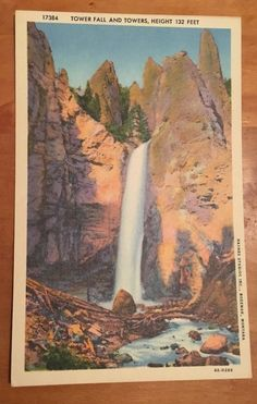 VINTAGE LINEN CURTEICH YELLOWSTONE PARK POST CARD FREE SHIPPING