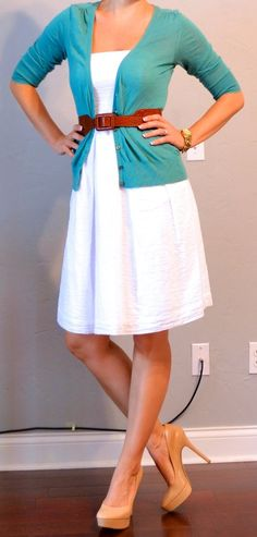 White dress teal cardi and coral accents (shoes and necklace)