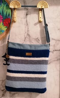 Craftrebella: Part 1/Slow Fashion: Go to the Beach - Maritima Bag Fast Fashion, Slow Fashion, Knitting Needles, Knitting Yarn, Jeans Fabric, Square Rings, One Bag, Old And New, Messenger Bag