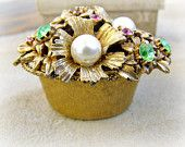 Signed Florenza Trinket Box, Ring Keeper, Flower Basket, Floral with Rhinestones and Faux Pearls , Original Box, Vintage Collectible