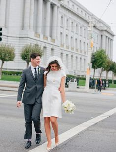 A Retro Inspired San Francisco City Hall Wedding by Christina McNeill - Wedding Party Courthouse Wedding Dress, Civil Wedding Dresses, Dress Wedding, Civil Ceremony Wedding Dress, Wedding Dress City Hall, City Hall Weddings, Wedding Hijab, Wedding Veil, Elopement Dress